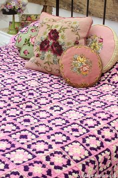 Vintage Home Shop - Pretty Lavender and Lilac Patchwork Crochet Throw: www.vintage-home.co.uk