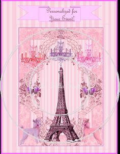 pink paris poodleParis Poodles and The Eiffel Tower Personalized Party Invitation Double Sided - by bellabellastudios $19.99