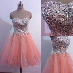 Organza Abschlusskleider Abiballkleider perlen rosa