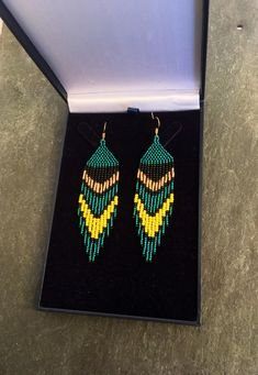 Aqua Teal Green Beaded Fringe Earrings May Birthstone Native American Gift Boho Huichol Navajo Ethnic Jewelry Yellow Gold Christmas Gift For Her perfect on those occasional day and evening ensembles! Brick Stitch Earrings, Seed Bead Earrings, Fringe Earrings, Diy Earrings, Bead Jewellery, Ethnic Jewelry, Beaded Jewelry, Beaded Earrings Patterns, Beading Patterns