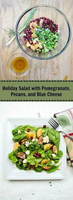 This holiday salad with fresh pomegranate and greens is super delicious when you add mandarin oranges, crunchy pecans, and crumbles of creamy blue cheese.