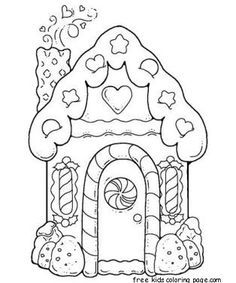 gingerbread house printable coloring pages for kids.free online gingerbread house printable coloring pages for preschool. House Colouring Pages, Coloring Book Pages, Printable Coloring Pages, Coloring Sheets, Christmas Colors, Christmas Art, Christmas Pictures, Hansel Y Gretel, Pin Up Pictures
