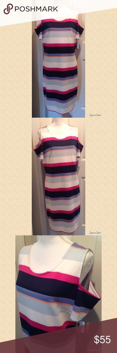Colorful Striped Cold Shoulder Dress Size: XL. 92% Polyester and 8% Spandex. NWT. Dresses
