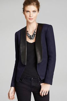 Joe's Collection Leather Lapel Blazer, $395, available at Bloomingdale's.  black leather & navy