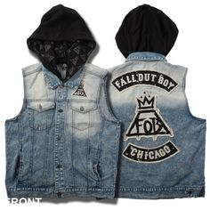FOB Hooded Jean Vest Fall Out Boy ($50) ❤ liked on Polyvore