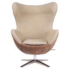 Sillón modelo EGG, con patas de acero inoxidable y tapizado con lino y simil piel, color marrón:      Medidas: 78x83x110.5 cm