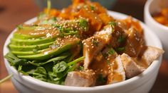 Buddha Bowl: chicken / brown rice / avocado / spinach / sweet potato / peanut butter sauce