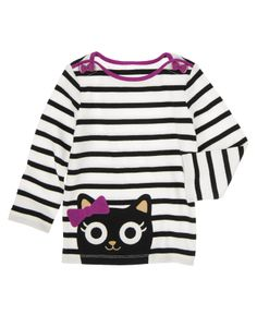 Purrfectly cute! Soft striped tee has a stylish boatneck with bow-shaped buttons, plus a big kitty face on the hem. #gymboree