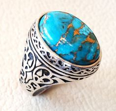 Near Eastern Loyal 92.5 Silver Nishapure Turquoise Stone Lovely Ring 11gr Buy One Get One Free