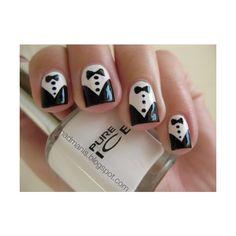 Daily Nail Art Tuxedo Nails ❤ liked on Polyvore