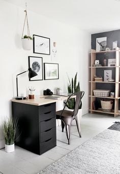 modern simple home office, floating desk and shelves, modern chairs, vertical pa…