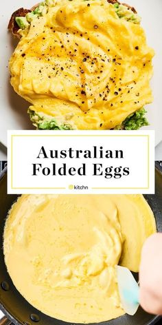 Recipe: Australian F Recipe: Australian Folded Eggs.Recipes like this are perfect for breakfasts especially on the weekend. It's a fancy way to top avocado toast; kind of like soft scrambled omelette! Healthy and light. Fast cooking eggs on the stovetop. Breakfast Dishes, Healthy Breakfast Recipes, Vegetarian Recipes, Cooking Recipes, Healthy Recipes, Cooking Eggs, Cooking Avocado, Cooking Bacon, Healthy Dishes