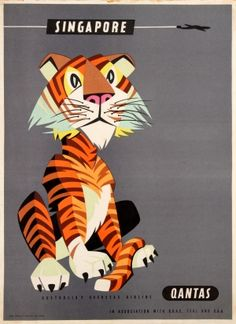Singapore Qantas Tiger, 1950s - original vintage poster by Harry Rogers listed on AntikBar.co.uk