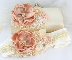 Bridal Sash Wedding Sash in Blush Pink and Ivory with by SolBijou, $280.00