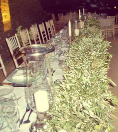 Candles, Olive and Baby's Breath, Bride and Groom Table, Wedding Decoration, Concept by Mika Theo (mikaella_theo@hotmail.com)
