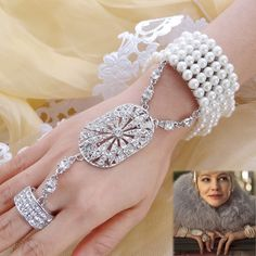 Bella 2015 The Great Gatsby Bridal Bracelet Ring Set Pearl Bridesmaid Austrian Crystal Stretch Bangle Party Gift For Mother(China (Mainland))