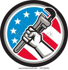 Illustration of a plumber hand holding adjustable pipe wrench in an angled position viewed from the side set inside circle with usa american stars and stripes flag in background done in retro style.  #plumber #retro #illustration