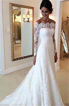 5815ea6584d5 Elegant White Ivory Lace Off-Shoulder Long Sleeve Wedding Dress bridal gown