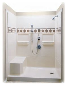 Small Shower Remodeling Gray and Fiberglass Shower Remodel Diy. Tub To Shower Remodel, Bathroom Tub Shower, Tub Remodel, Ada Bathroom, Handicap Bathroom, Master Shower, Basement Bathroom, Small Bathroom, One Piece Shower Stall