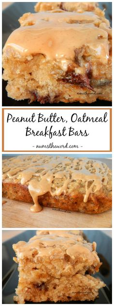 Peanut Butter Oatmeal Breakfast Bars are a great way to use up ripe bananas. Hearty, healthy and kid friendly, these breakfast bars are perfect for busy school mornings or a healthy treat after dinner! Oatmeal Breakfast Bars, Breakfast On The Go, Breakfast Dishes, Best Breakfast, Breakfast Healthy, Breakfast Ideas, Healthy Brunch, Breakfast Dessert, Brunch Recipes