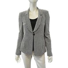 Pre-owned Armani Collezioni Blackwhite Print Jaquard Jersey Single... ($637) ❤ liked on Polyvore featuring outerwear, jackets, blazers, suits, polka dot blazer, patterned blazer, pattern jacket, print jacket and print blazer