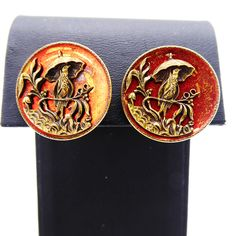Victorian Bird Under Umbrella Screw Back Earrings – Gothic Red-Orange Enamel, Applied Design, Vintage Early 1900s Jewelry | 21 Vintage Street Button Earrings, Clip On Earrings, Jewelry Supplies, Jewelry Stores, Buttons Online, Photographing Jewelry, Screw Back Earrings, Victorian Era, Gothic