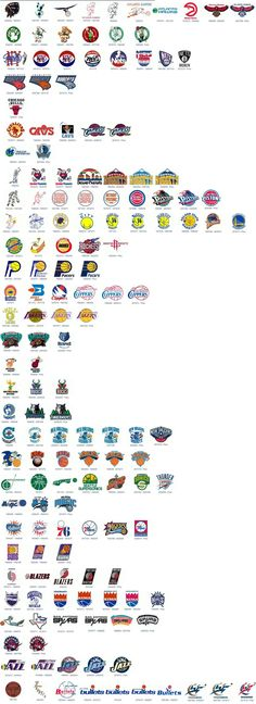 NBA Logo Evolution. Chicago Bulls is the only team that has not changed their logo (my favorite team)