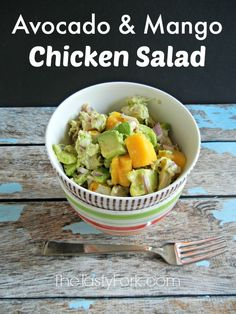 Avocado and Mango Chicken Salad. A healthy and easy recipe perfect for the warmer months!