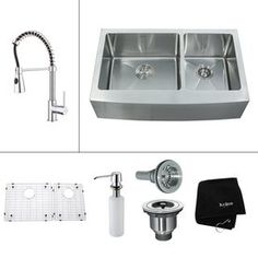 Kraus Kitchen Combo 20.75-in x 32.9-in Stainless Steel Double-Basin Apron Front/Farmhouse Kitchen Sink