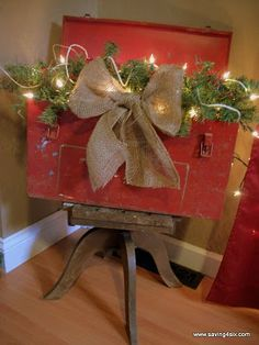 Trash to treasure:  old toolbox to Christmas arrangement