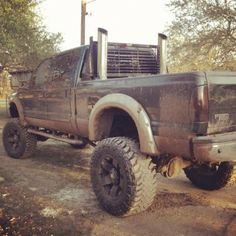 Lifted truck with smoke stacks