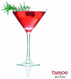 byejoe Cranberry Thyme Martini Thyme!   8 ounces byejoe  1 ounce cranberry juice  1 teaspoon vermouth  Skewered fresh cranberries  Sprig of thyme - byejoe Baijiu