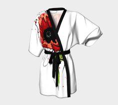 Poppy Flower Tattoo Kimono Robe