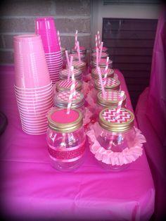 Mason jars- cute party favors, fill them with goodies to take home! Mason Jar Projects, Mason Jar Crafts, 1st Birthday Parties, Girl Birthday, Birthday Ideas, A Royal Affair, Hanging Mason Jars, Ballerina Party, Birthday Centerpieces