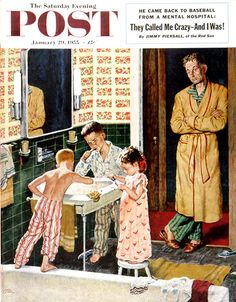 """""""Brushing Their Teeth"""" by Amos Sewell...................http://es.pinterest.com/patricianez/old-magazines/"""