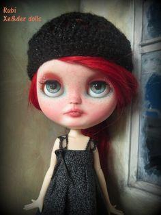 OOAK custom Icy doll con mohair natural color rojo por XeiderDolls