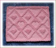 Lattice Hearts Free Knit Dishcloth Pattern