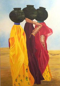 Gema Silva Mujeres hindúes óleo 70 x 100 cms ORIGINAL