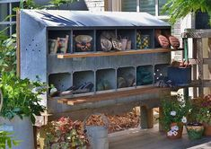 Nesting Box Retro-Fit - to shoe storage Redeem Your Ground Outdoor Spaces, Outdoor Living, Outdoor Decor, Farmhouse Style Decorating, Farmhouse Decor, Chicken Roost, Objets Antiques, Chicken Nesting Boxes, Metal Chicken