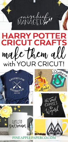 Harry Potter Cricut Projects - Pineapple Paper Co. Harry Potter Cricut Ideas, Crafts, and Projects that you can make for Parties, Shirts, and More! Curated by Pineapple Paper Co. Harry Potter Sorting Hat, Harry Potter Diy, Illustration Vector, Illustrations, Cute Pencil Pouches, Harry Potter Birthday Cards, Cricut Craft Room, Partys, Cricut Creations