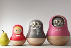 red riding hood nesting doll snack holders - perhaps not super practical, but definitely super cute