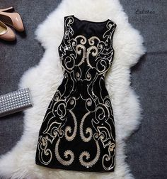 Black Baroque Sequins Gatsby Dress by Calithea on Etsy, $99.90