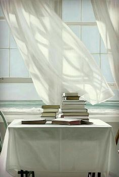 A light summer breeze in your home. Cottages By The Sea, Beach Reading, Window View, Open Window, Through The Window, White Aesthetic, Summer Breeze, Coastal Living, Windows And Doors