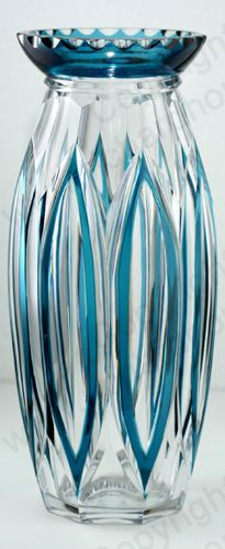 VINTAGE GLASS IN BLUE. c.1930s VAL SAINT ST. LAMBERT PETROL BLUE OVERLAY VASE, POSSIBLY JOSEPH SIMON.
