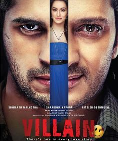 The first look poster of the upcoming romantic thriller bollywood film 'Ek Villain' is out today. The film starring Sidharth Malhotra, Reteish Deshmukh & Shraddha Kapoor in lead roles. The film is being directed by Mohit Suri and is being produced by. Movies Box, Hd Movies, Films, Movies Free, Bollywood Posters, Bollywood News, Bollywood Songs, Salman Khan, Indiana