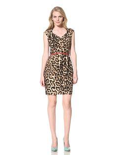 62% OFF Ellen Tracy Women's Sheath Dress with Belt (Animal Print)