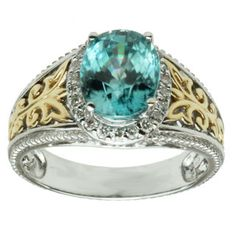 Michael Valitutti 14K Two-tone Gold Oval-cut Blue Zircon and Diamond Ring | Overstock.com Shopping - Top Rated Michael Valitutti Gemstone Rings