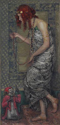 Princese ar pērtiķi / Jānis Rozentāls / Audekls, eļļa / 147x5x71 / Gads - 1913.