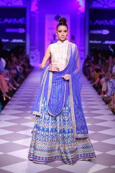 Beautiful Blue Embroidered #Lehenga With White Crop Top #Blouse. Taj Mahal Tea Presents Anita Dongre At Lakme Fashion Week 2014.