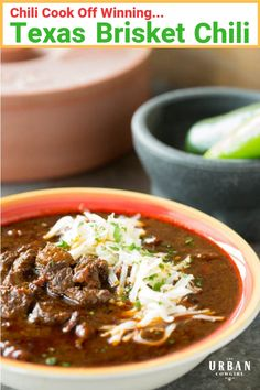 Get this chili cook off winning Texas Brisket Chili Recipe! This award winning chili is made Texas style, with step by step instructions and photos to help you pull it off flawlessly. Best Chili Recipe, Chili Recipes, Mexican Food Recipes, Soup Recipes, Family Recipes, Authentic Chili Recipe, Family Meals, Dinner Recipes, Texas Brisket
